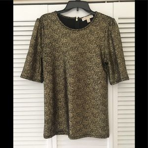 Michael Kors Gold Metallic Tunic Top